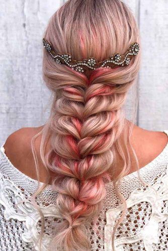 Messy Long Braid With Accessories #hairaccessories #braidedhairstyles