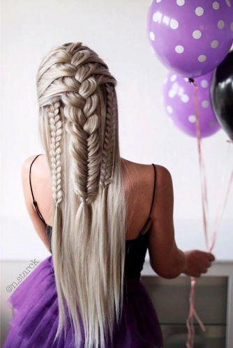 Triple Braids Half-Up #braidedhair #blondehair #formalhairstyles