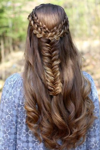 Half Up Half Down with Braids and Fishtails picture 3