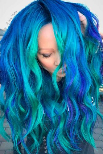 Trendy Green and Blue Ombre Hair Colors picture 2