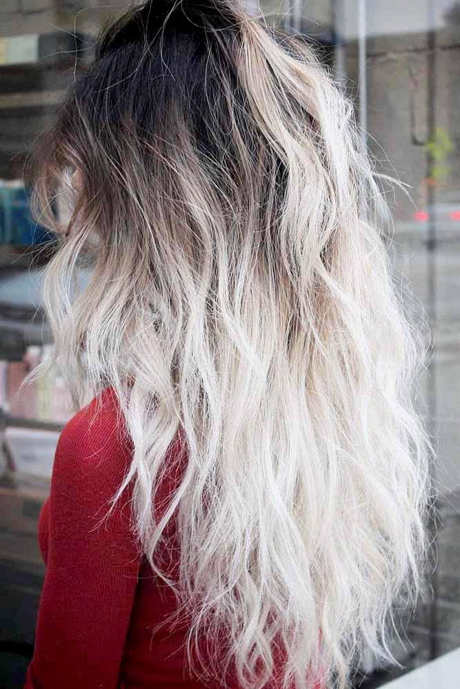 Messy Platinum Blonde Ombre Hair #platinumblond #whiteblonde