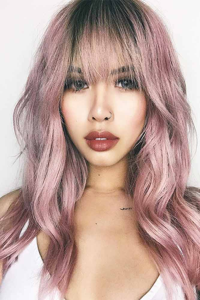 Pink Haircut With Bang #pinkhair #longbang
