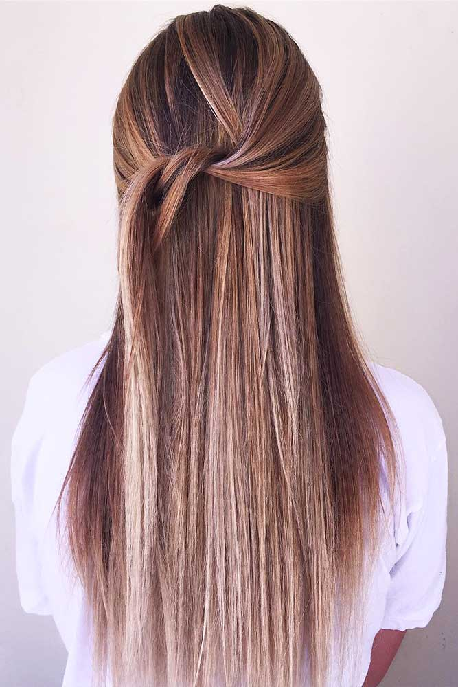 Straight Brown Hair With Highlights #sleekhairstyles #brownhair
