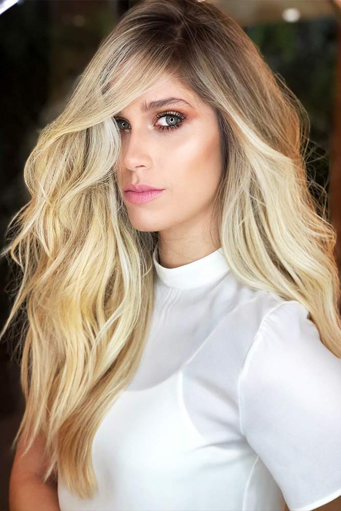 Haircut Voluminous Side Bangs #stylishlook #blondebalayage