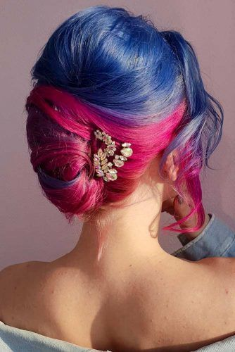 Colorful French Updo Hair Style #frenchupdo