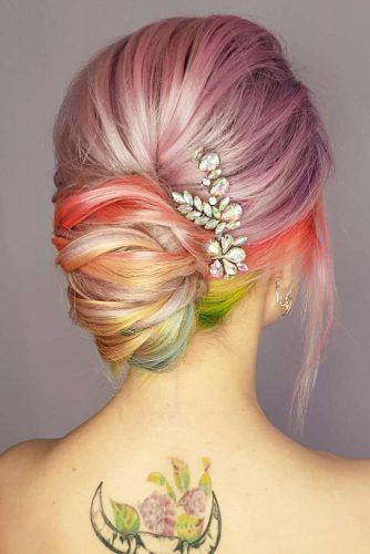 Rainbow French Updo Hairstyle For Prom #frenchupdo