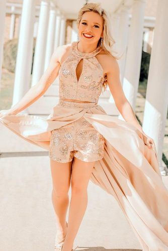 Beige Prom Gown With Shorts #lace #shorts