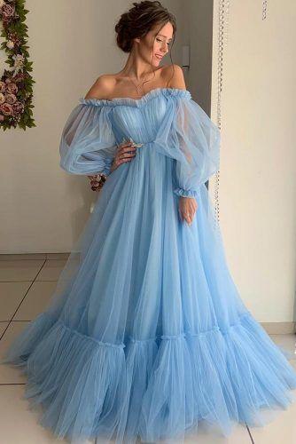 Blue Shoulder Off Dress Design #longsleeves