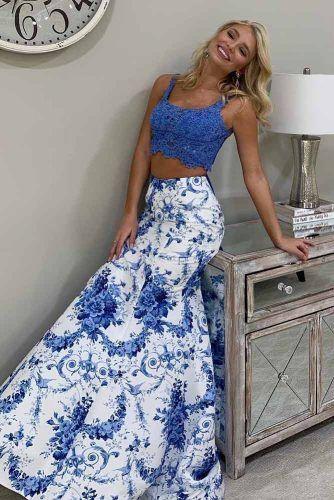 Two Piece Blue Prom Dress #floraldress