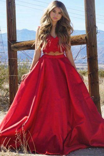 Red Two Piece Prom Dress #reddress #twopiece