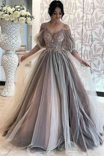 Gray A-line Prom Dress With Long Sleeves #shoulderoff #lace