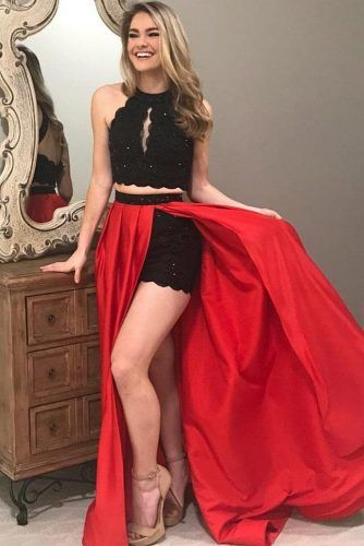 Red And Black Two Piece Prom Dress #doubleskirt #lace