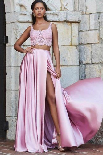 Pink Two Piece Prom Dress #pinkpromdress #twopiece