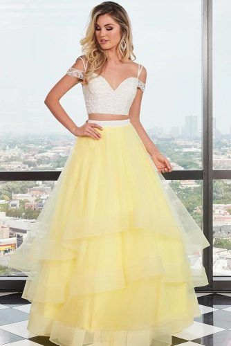 Yellow Two Piece Prom Dress #yellowpromdress