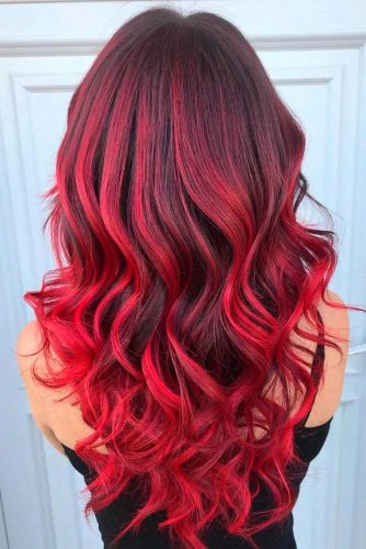 Red Ombre Hairstyle For Curly Hair #ombrehair #longhair #beautifulhairstyles