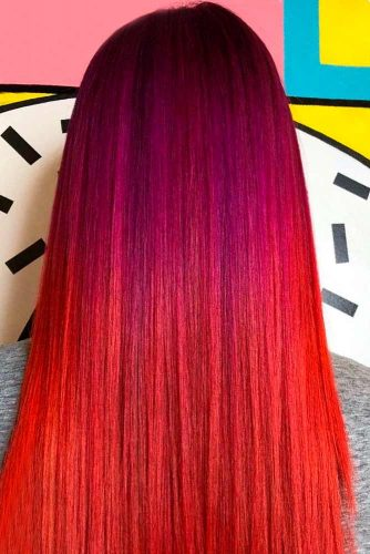 Red And Purple Ombre Hair Style #ombrehair #longhair #beautifulhairstyles
