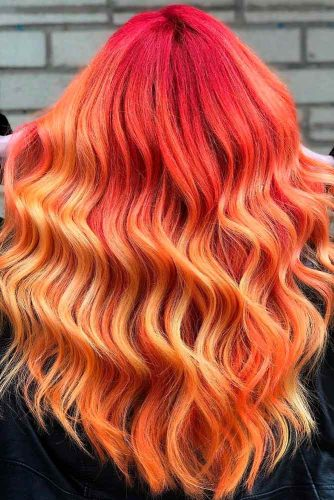 Red Orange Ombre Hair #ombrehair #longhair #beautifulhairstyles