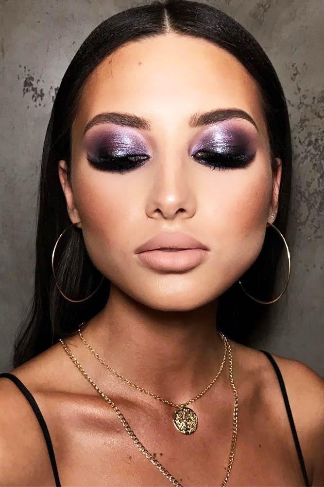 Purple Glitter Smokey Eyes With Nude Lipstick #purplesmokey