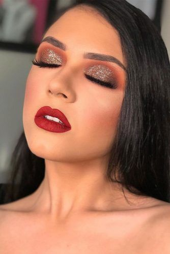 Brown Glitter Smokey With Red Lipstick Makeup Idea #redlipstick