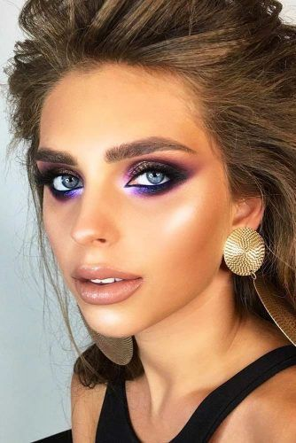 Bold Purple And Black Smokey Eyes Makeup #nudelipstick