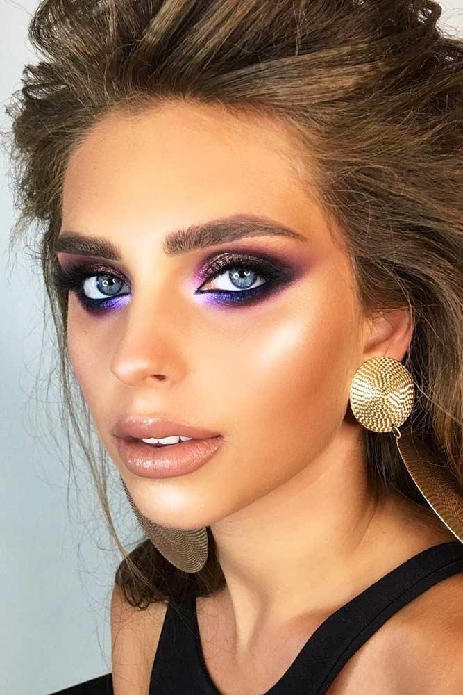 Bold Purple And Black Smokey Eyes Makeup #nudelipstick