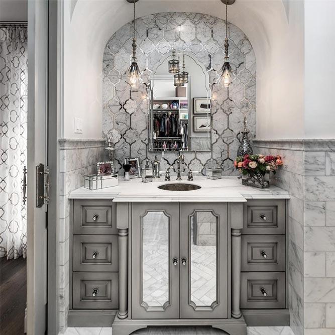 Classy Vanity With Mirror Doors #cabinets #mirrordoors