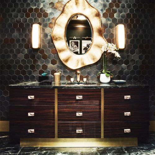 Classy Bathroom Vanity In Dark Hues With Marble Top #classystyle #drawers