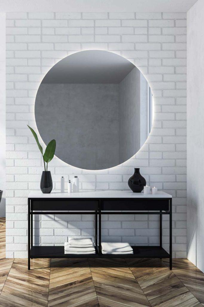 Modern Bathroom Vanity Design with Round Mirror