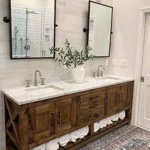 Rustic Bathroom Vanity With Storage Space #rusticvanity #woodenvanity