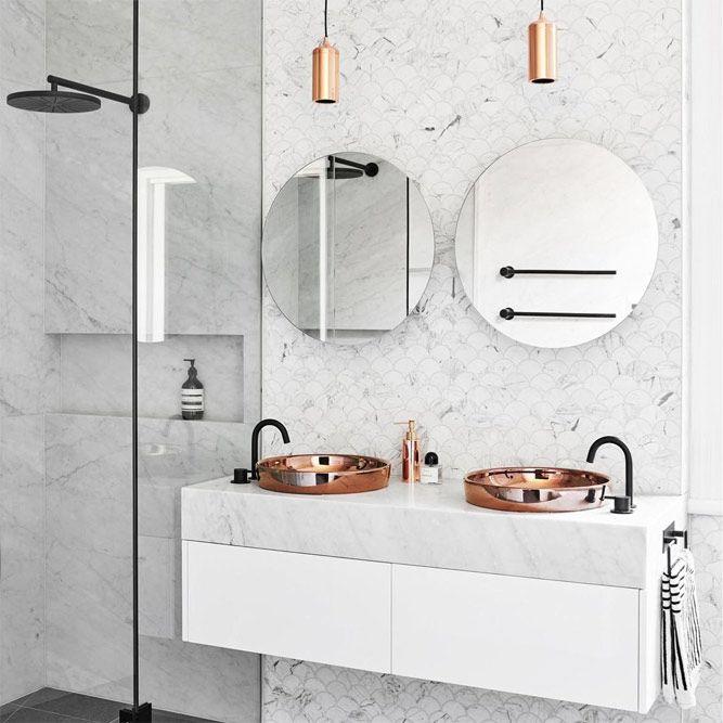 Modern Bathroom Vanity With Copper Washbowl #modernvanity #copperwashbowl