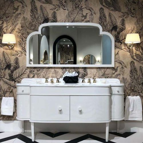 Retro White Bathroom Vanity #whiteretro #marbletop