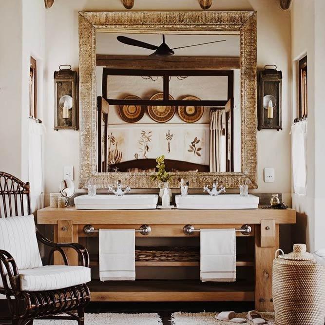 Rustic Vanity Design With Shelves #rusticvanity #spacestorage