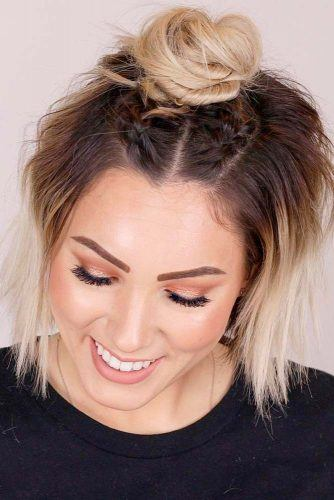 Top Knot With Braids #halfupdo #topknot