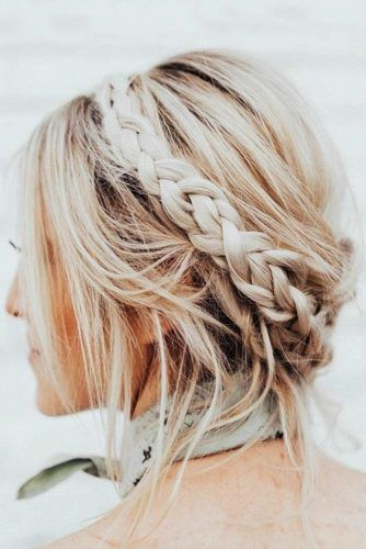 Crown Braided Updos For Short Hair #updo #braids #shorthair