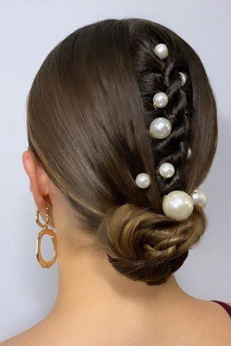 Sleek Updo With Pearls #hairdecorations #sleekhair