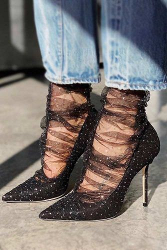 Black Heels With Crystals #crystals