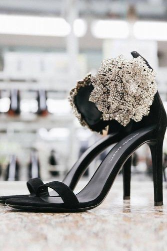 Black Sandals With Crystals Accent #blacksandals