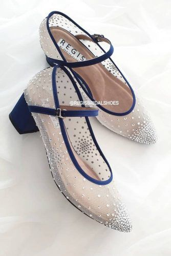 Nude And Blue Crystals Pumps #blocksshoes