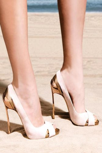 Gold And Nude High Heels #nudeheels