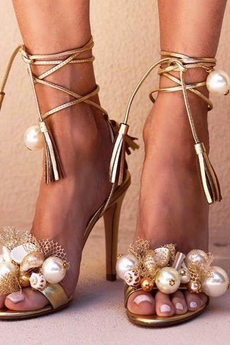 Gold Sandals With Pearls #goldheels