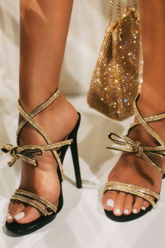 Black Sandals With Crystals Stripes #heels #crystalssandals