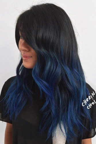 Mid Length Cut with Blue Ends on Black Haircolor