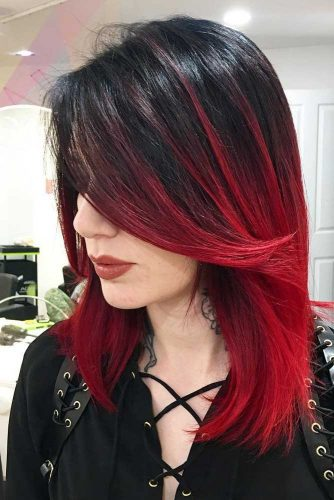 Red and Black Ombre for a Dramatic Punk Style