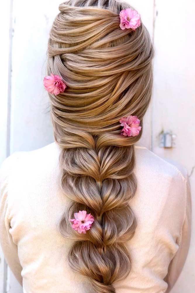 Through Braid With Flowers #throughbraid #flowershairstyles