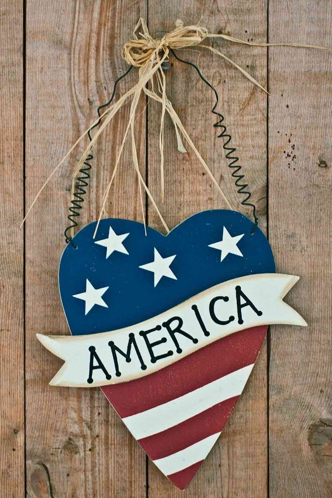 Patriotic Front Door Decoration With Heart #america #heart