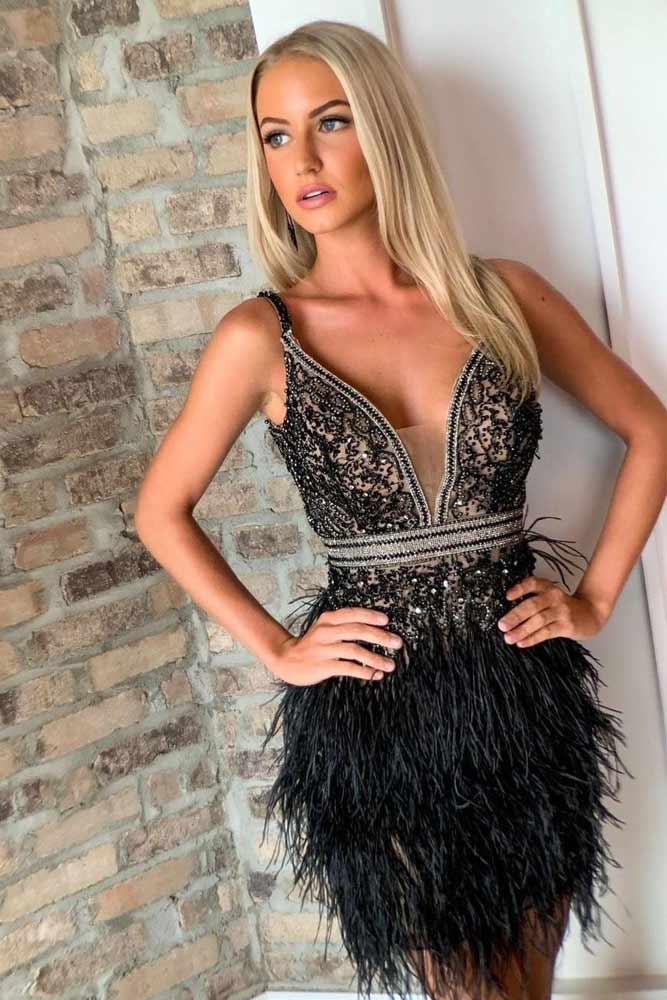 Black Short Dress Design With Feathers #blackdress #shortdress