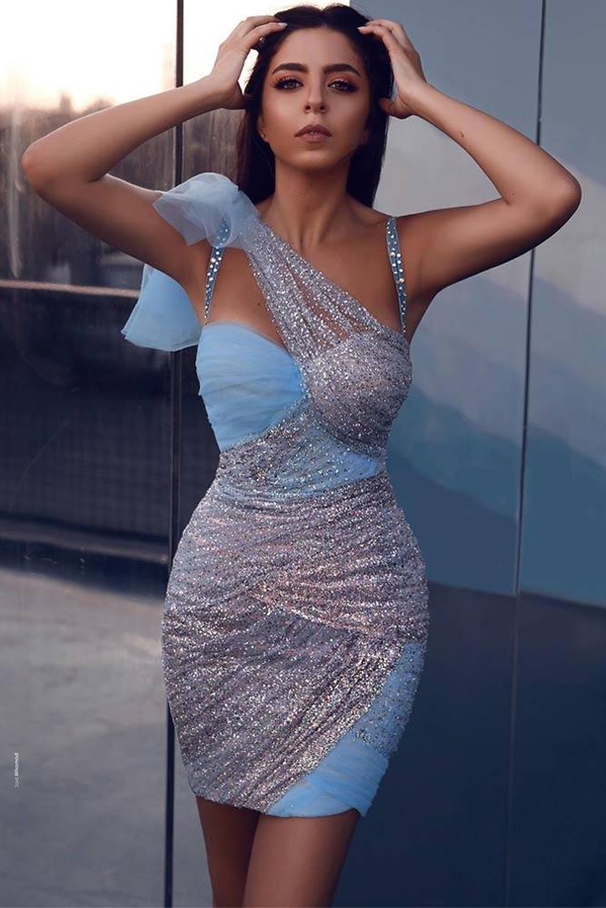 Short Bodycon Dress Design With Silver Accent #bluedress #shortdress