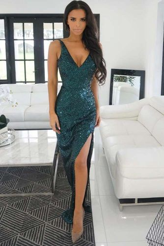 Dark Green Glitter Dress Design #darkgreendress #dresswithcut