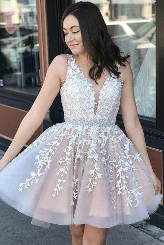 Blush Short Homecoming Dress #vneckdress #lace