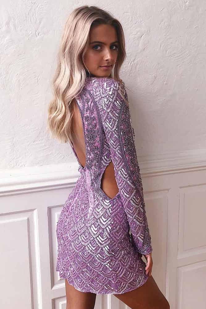 Purple Short Dress WIth Cuts Accents #backlessdress #sequindress